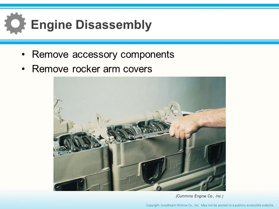 Engine Disassembly Remove accessory components