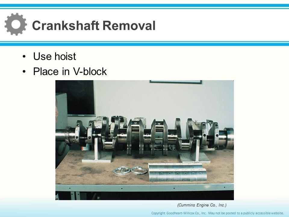 Crankshaft Removal Use hoist Place in V-block