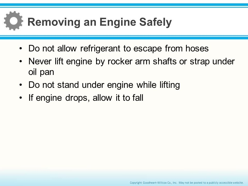 Removing an Engine Safely
