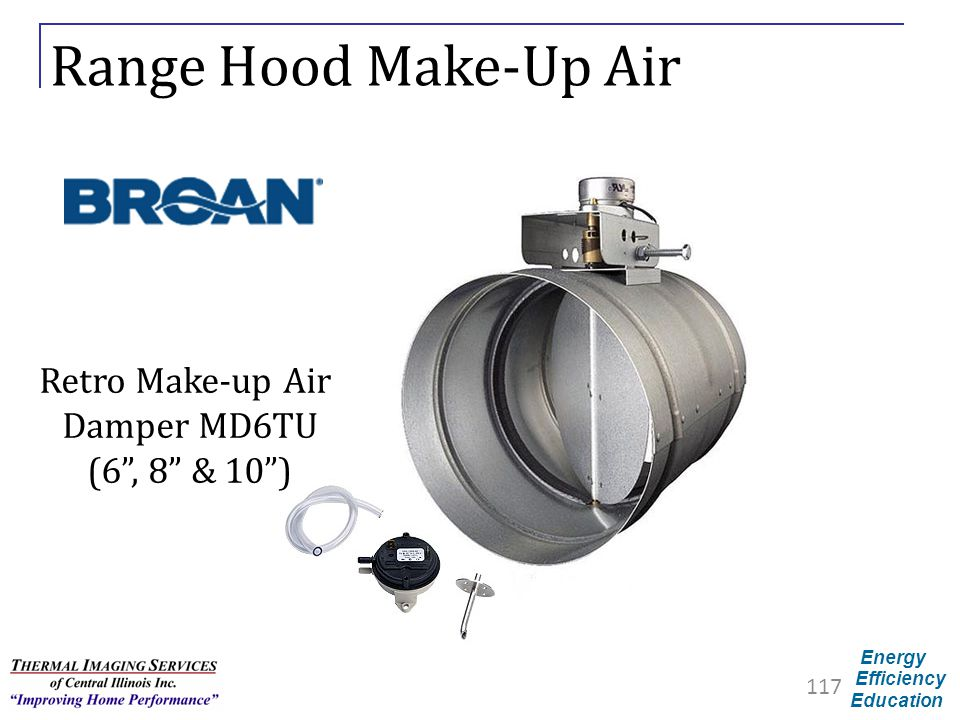 Range Hood Make-Up Air Retro Make-up Air Damper MD6TU (6 , 8 & 10 )