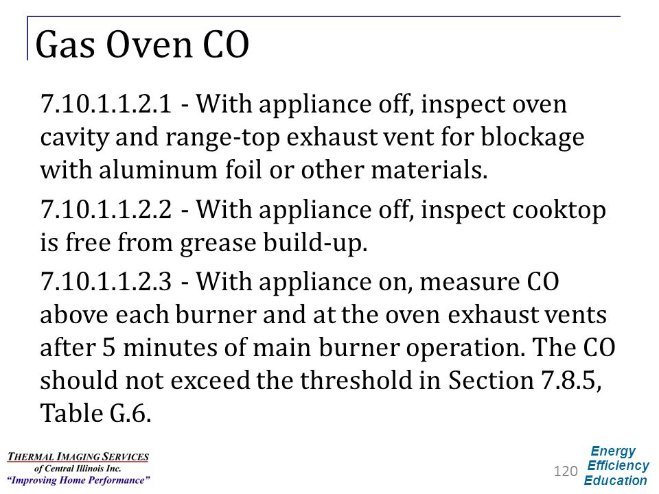 Gas Oven CO 7.10.1.1.2.1 - With appliance off, inspect oven cavity and range-top exhaust vent for blockage with aluminum foil or other materials.