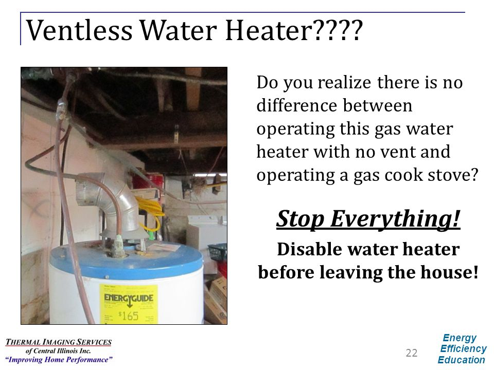 Disable water heater before leaving the house!