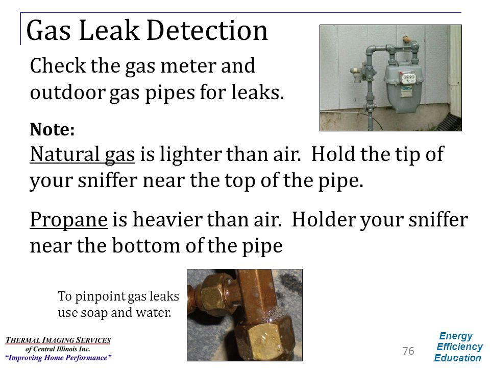 Gas Leak Detection Check the gas meter and
