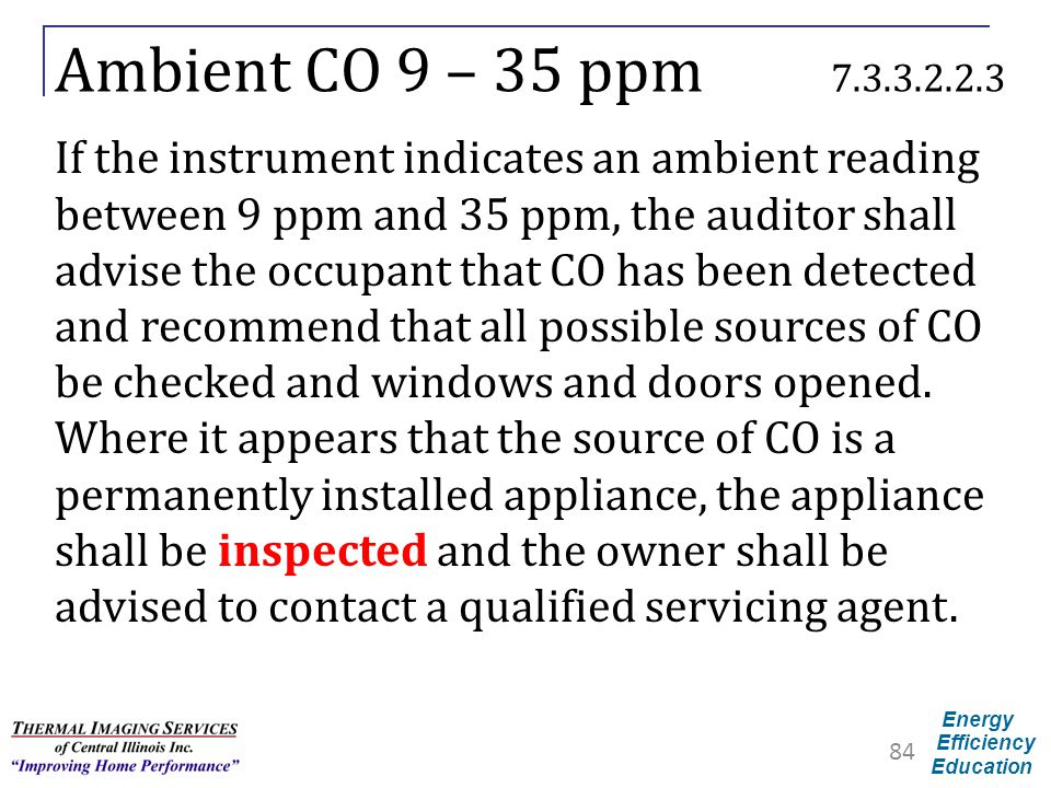 Ambient CO 9 – 35 ppm 7.3.3.2.2.3
