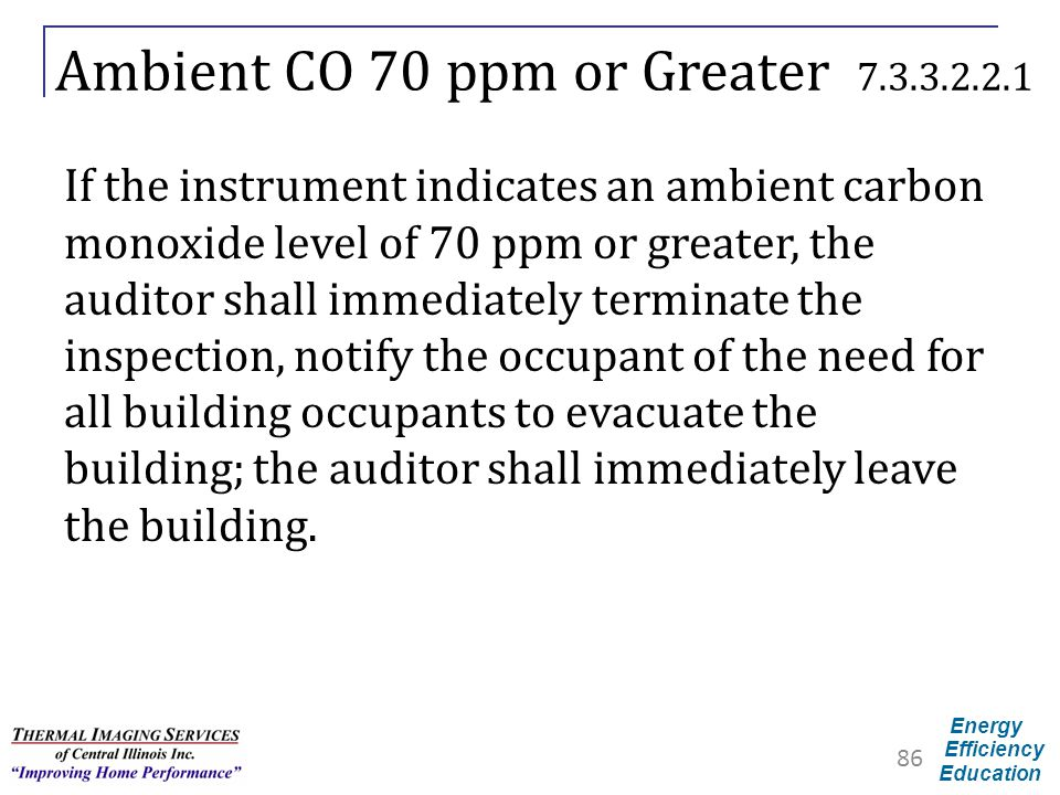 Ambient CO 70 ppm or Greater 7.3.3.2.2.1