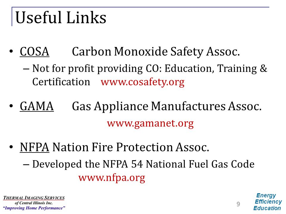 Useful Links COSA Carbon Monoxide Safety Assoc.