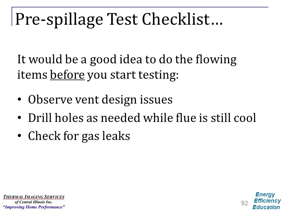 Pre-spillage Test Checklist…