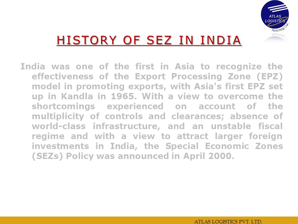 HISTORY OF SEZ IN INDIA