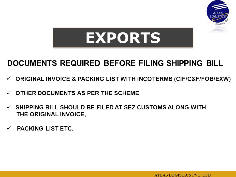 DOCUMENTS REQUIRED BEFORE FILING SHIPPING BILL