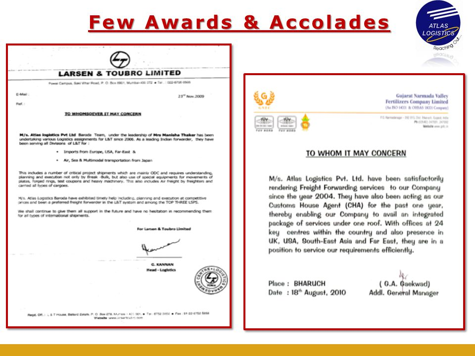 Few Awards & Accolades