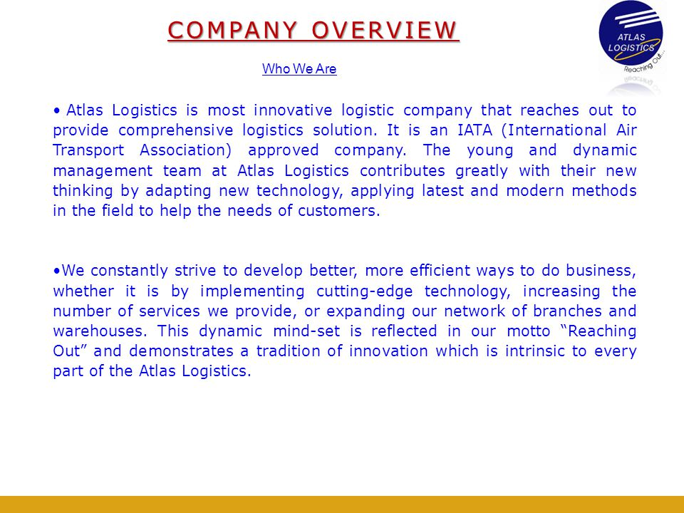 COMPANY OVERVIEW Who We Are.
