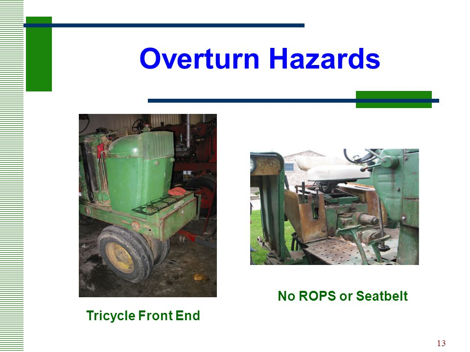 Overturn Hazards No ROPS or Seatbelt Tricycle Front End