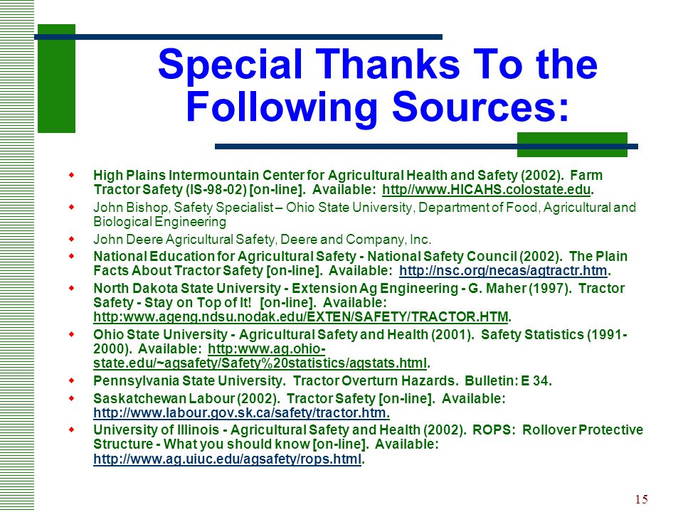 Special Thanks To the Following Sources: