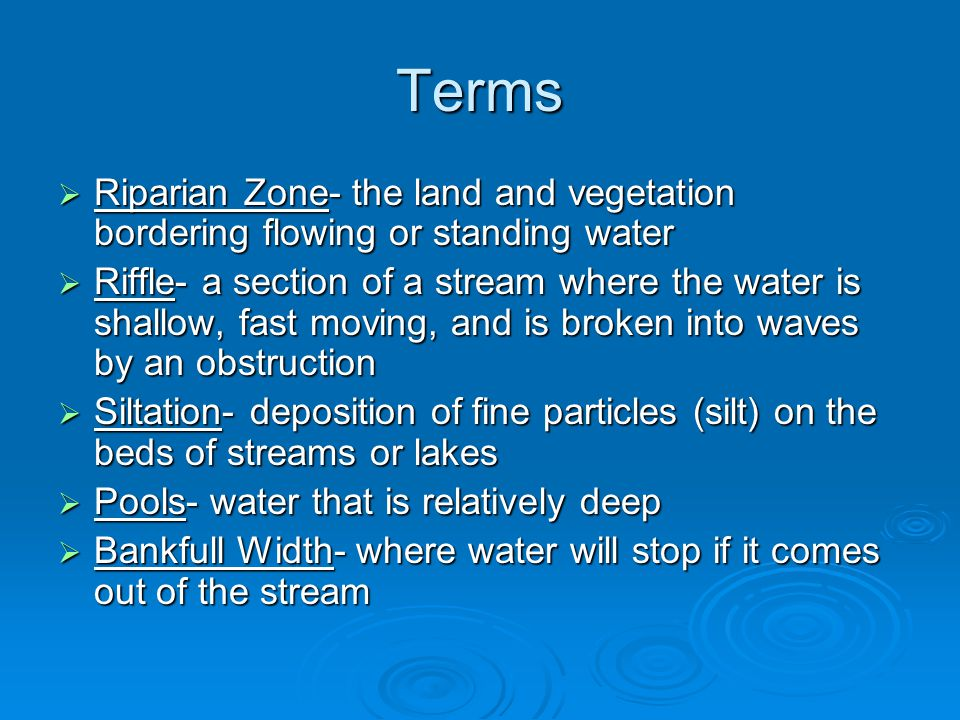 Terms Riparian Zone- the land and vegetation bordering flowing or standing water.