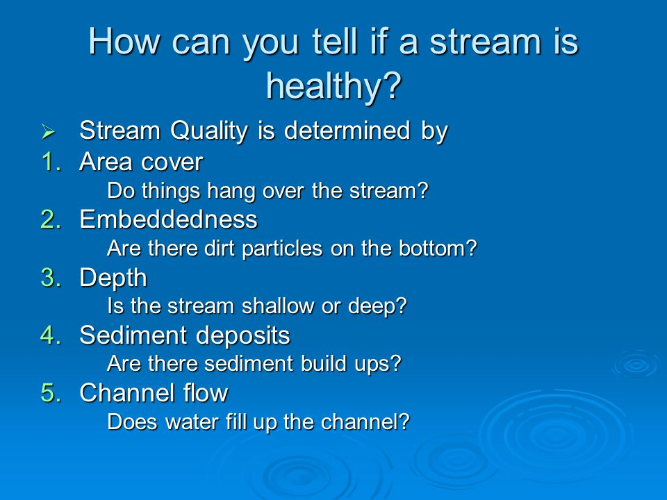 How can you tell if a stream is healthy