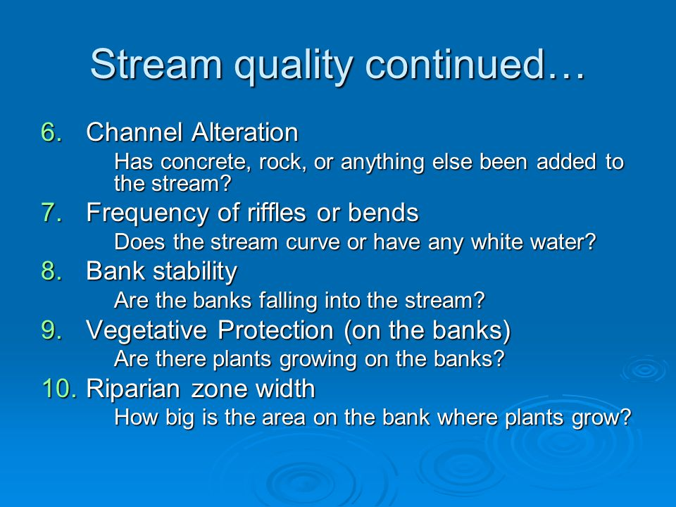 Stream quality continued…