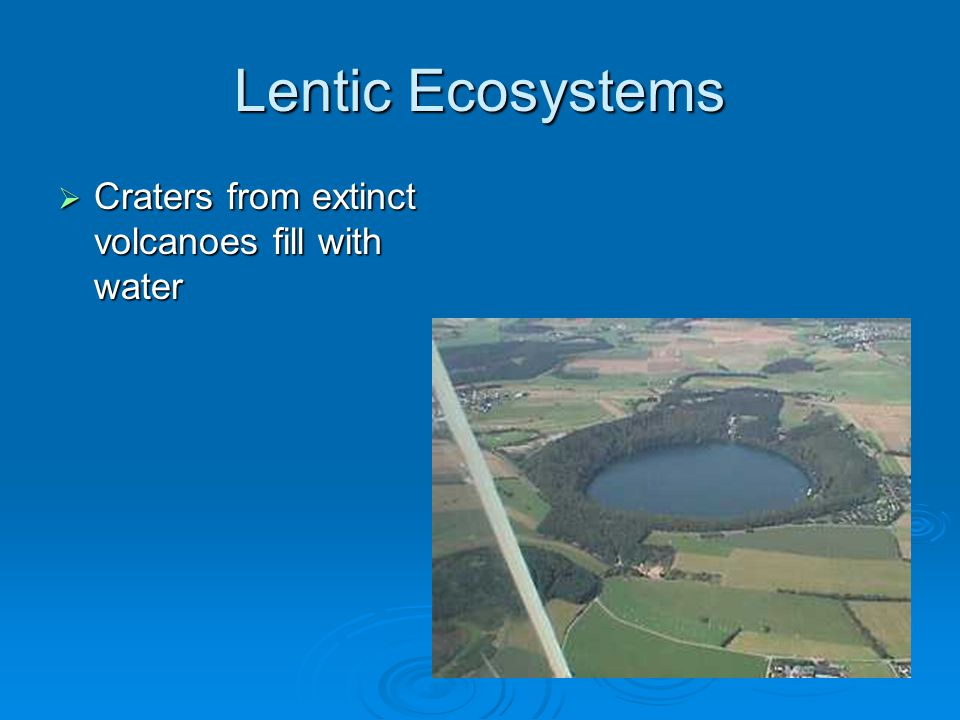 Lentic Ecosystems Craters from extinct volcanoes fill with water