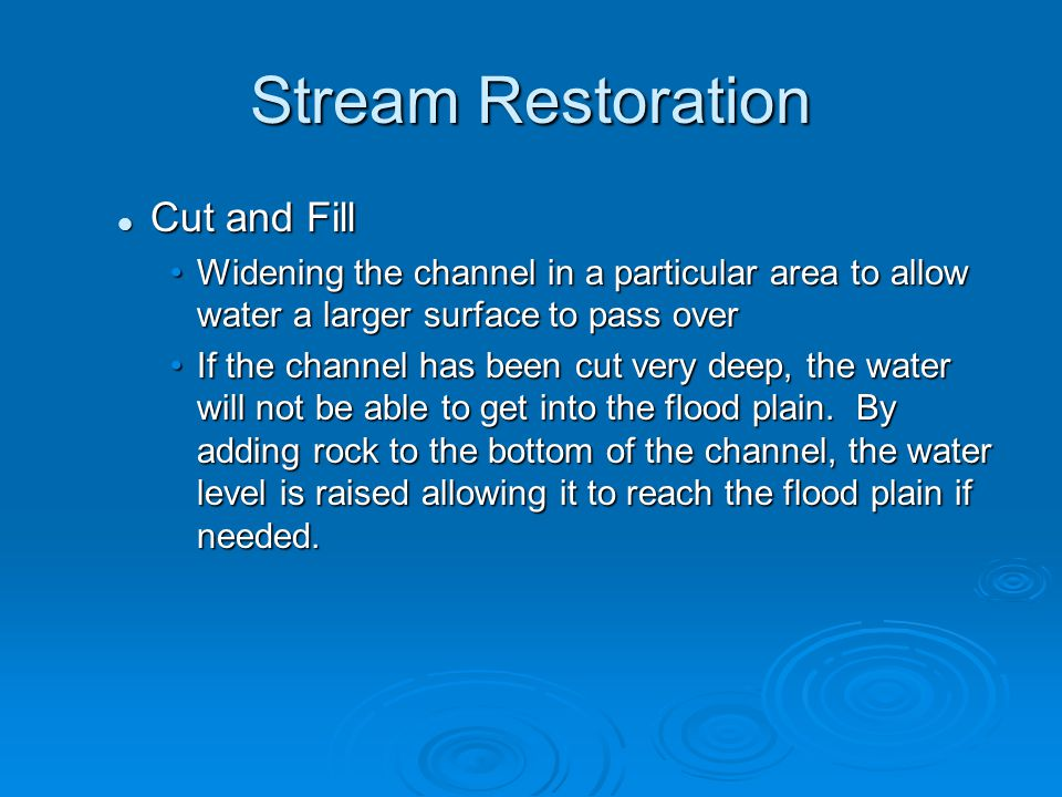 Stream Restoration Cut and Fill
