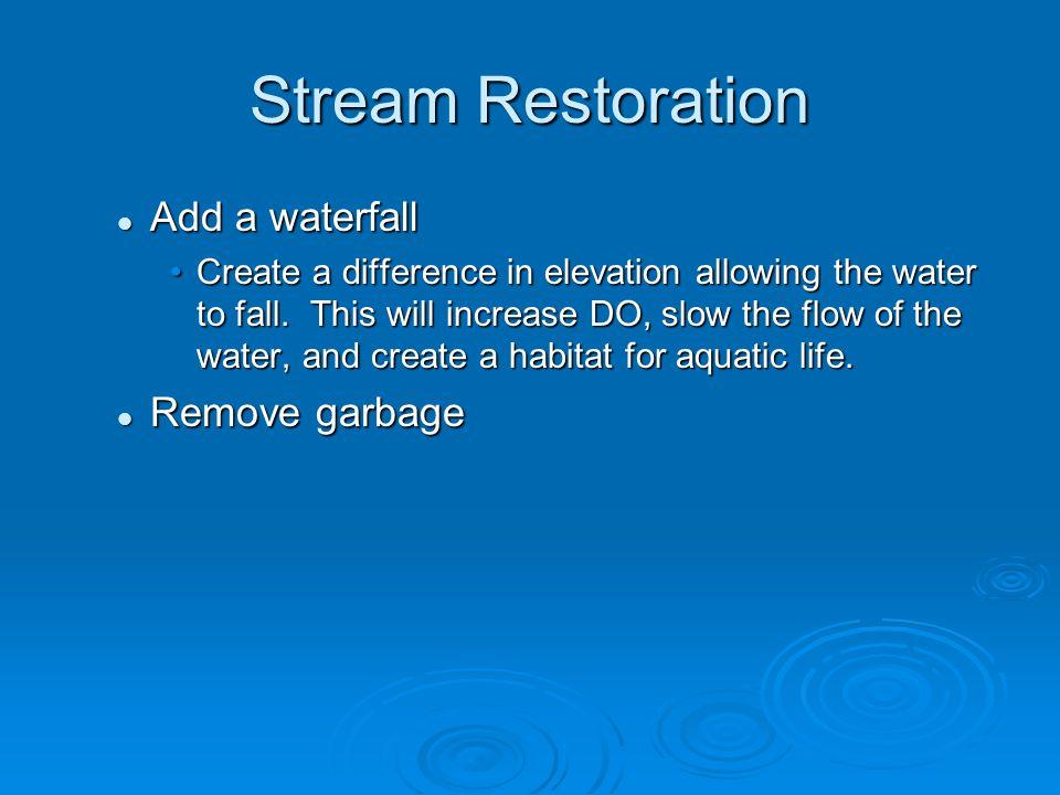 Stream Restoration Add a waterfall Remove garbage