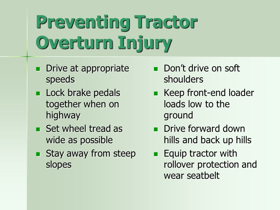 Preventing Tractor Overturn Injury