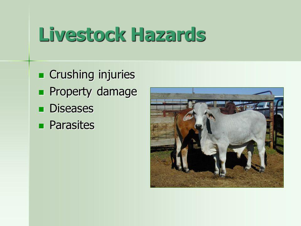 Livestock Hazards Crushing injuries Property damage Diseases Parasites