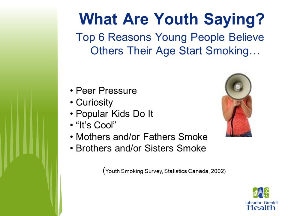What Are Youth Saying Top 6 Reasons Young People Believe Others Their Age Start Smoking… Peer Pressure.