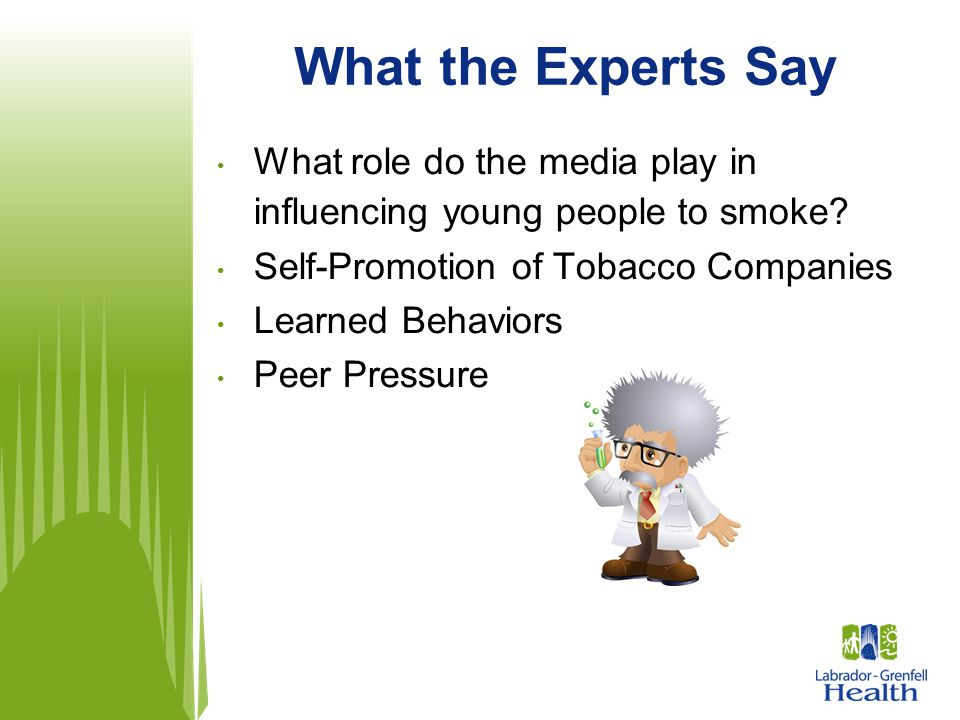 What the Experts Say What role do the media play in influencing young people to smoke Self-Promotion of Tobacco Companies.