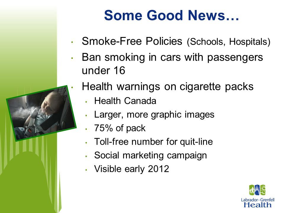 Some Good News… Smoke-Free Policies (Schools, Hospitals)