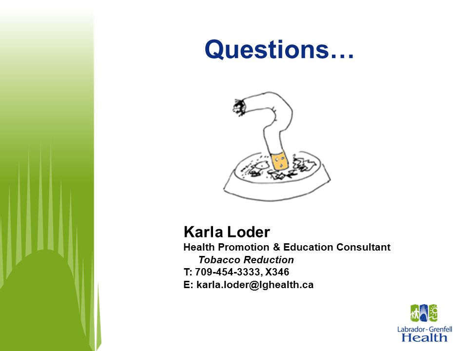 Questions… Karla Loder Health Promotion & Education Consultant