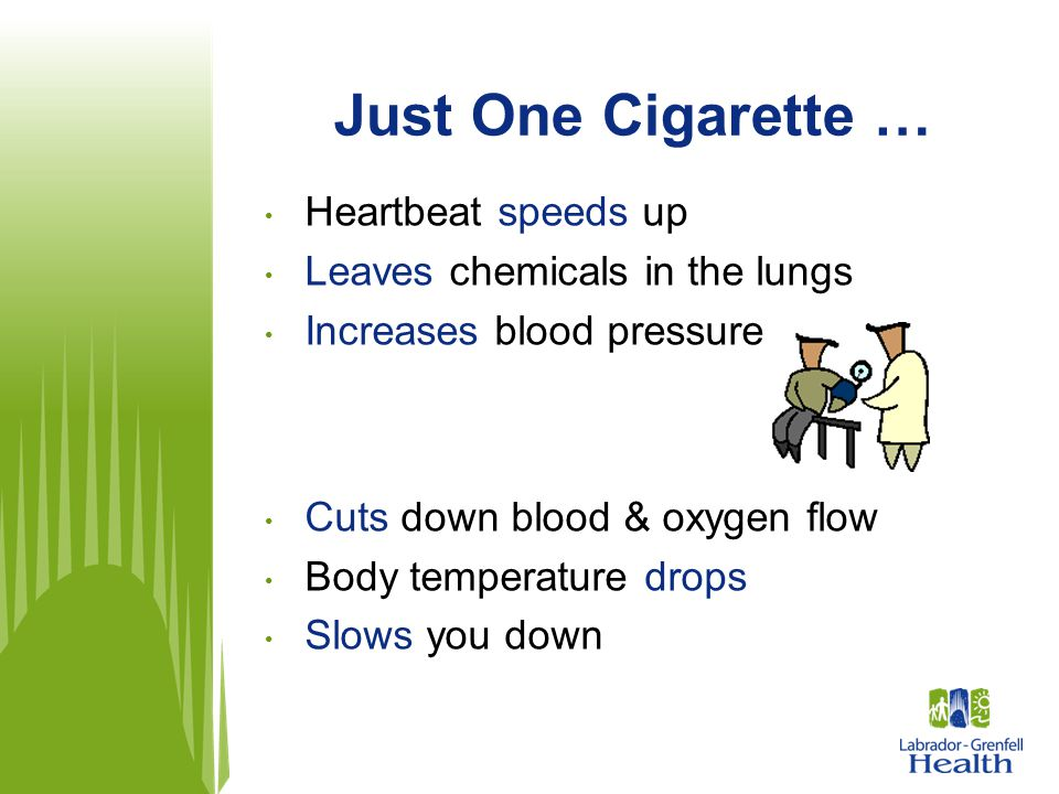 Just One Cigarette … Heartbeat speeds up Leaves chemicals in the lungs