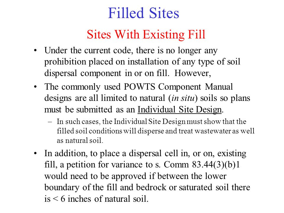 Filled Sites Sites With Existing Fill