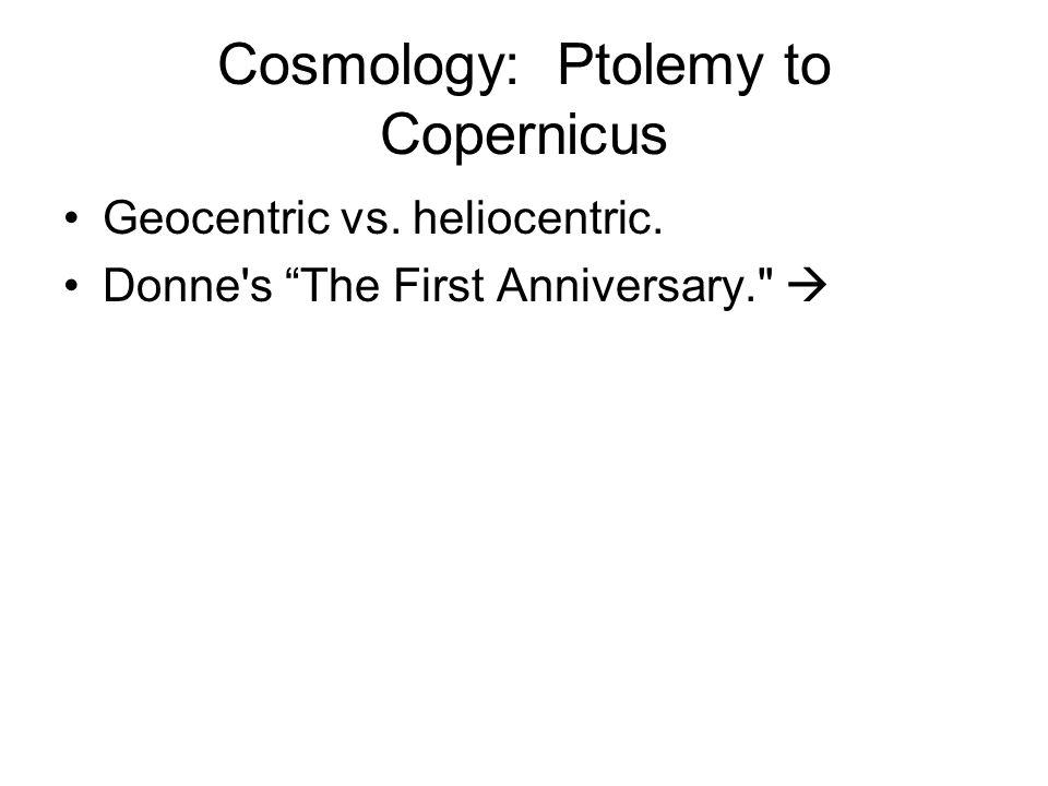 Cosmology: Ptolemy to Copernicus