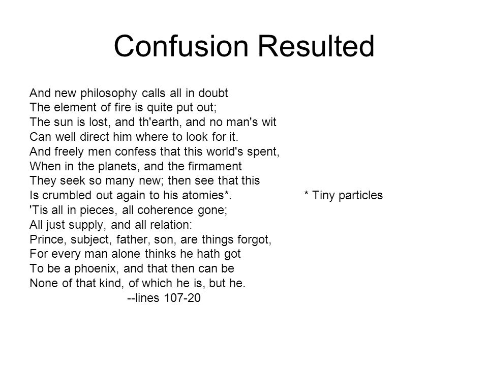Confusion Resulted And new philosophy calls all in doubt