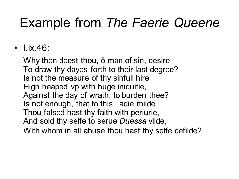 Example from The Faerie Queene