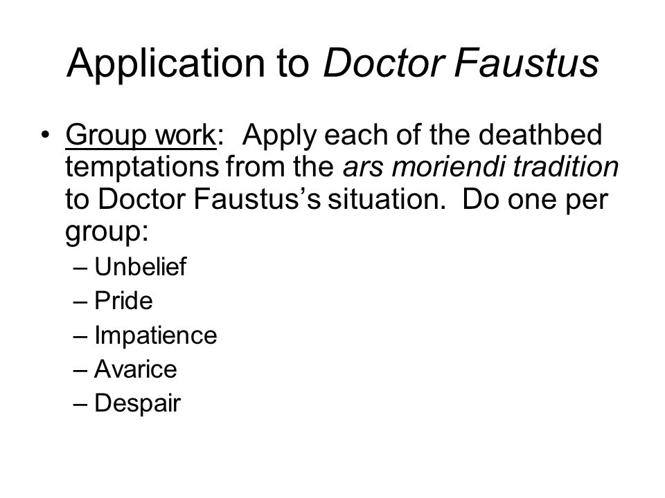 Application to Doctor Faustus