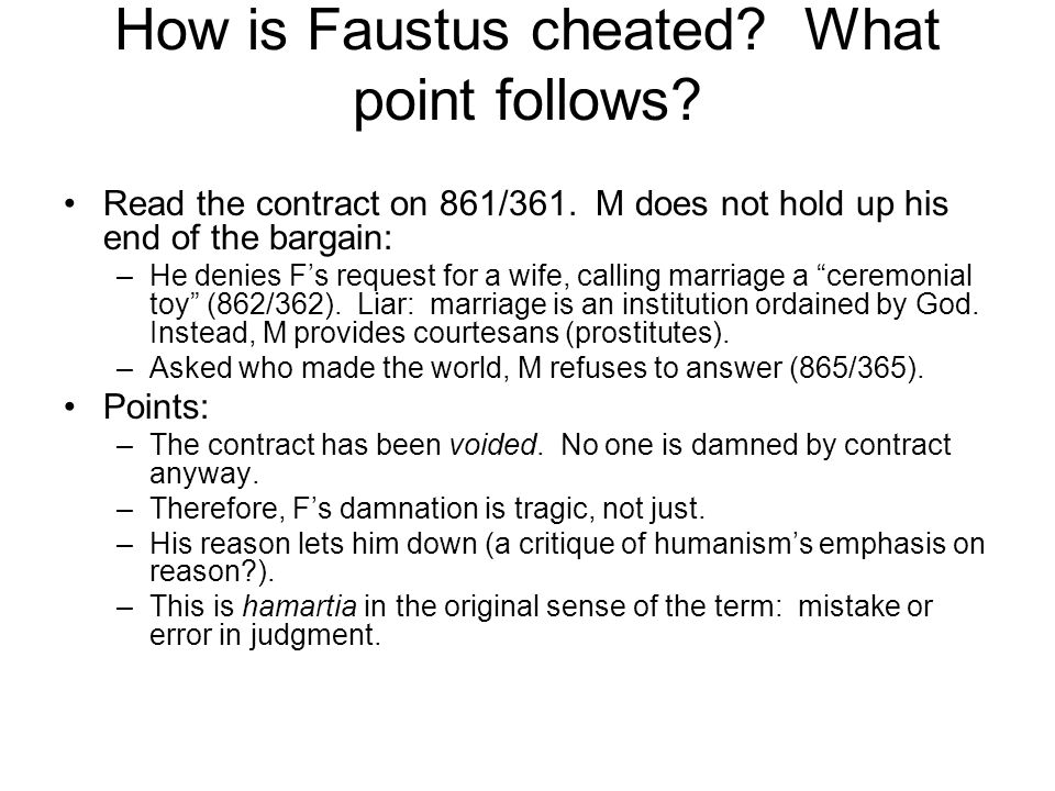 How is Faustus cheated What point follows