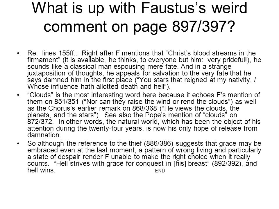 What is up with Faustus's weird comment on page 897/397