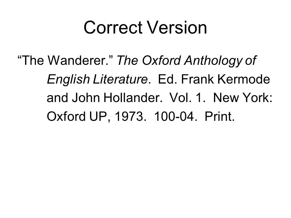 Correct Version The Wanderer. The Oxford Anthology of