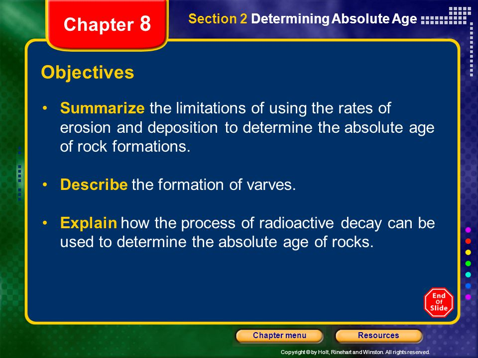 Chapter 8 Section 2 Determining Absolute Age. Objectives.
