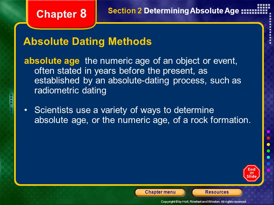 absolute dating methods Geologists often need to know the age of material that they find they use  absolute dating methods, sometimes called numerical dating, to give.