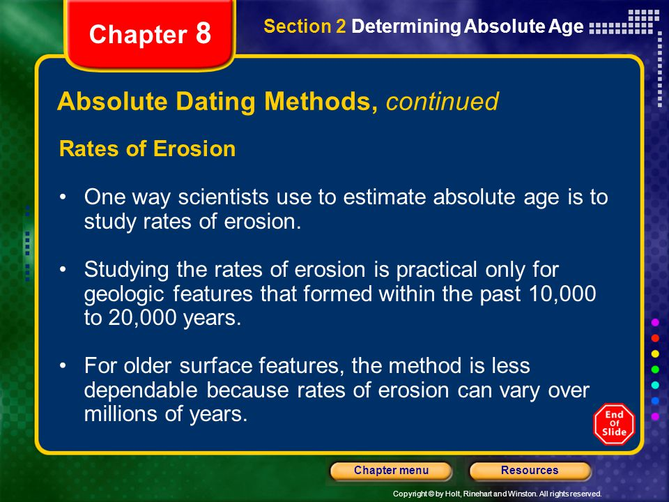 Absolute Dating Methods, continued