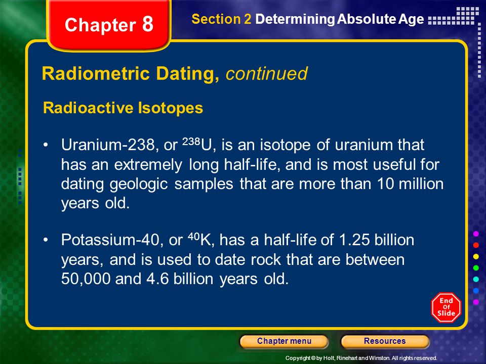 Radiometric Dating, continued