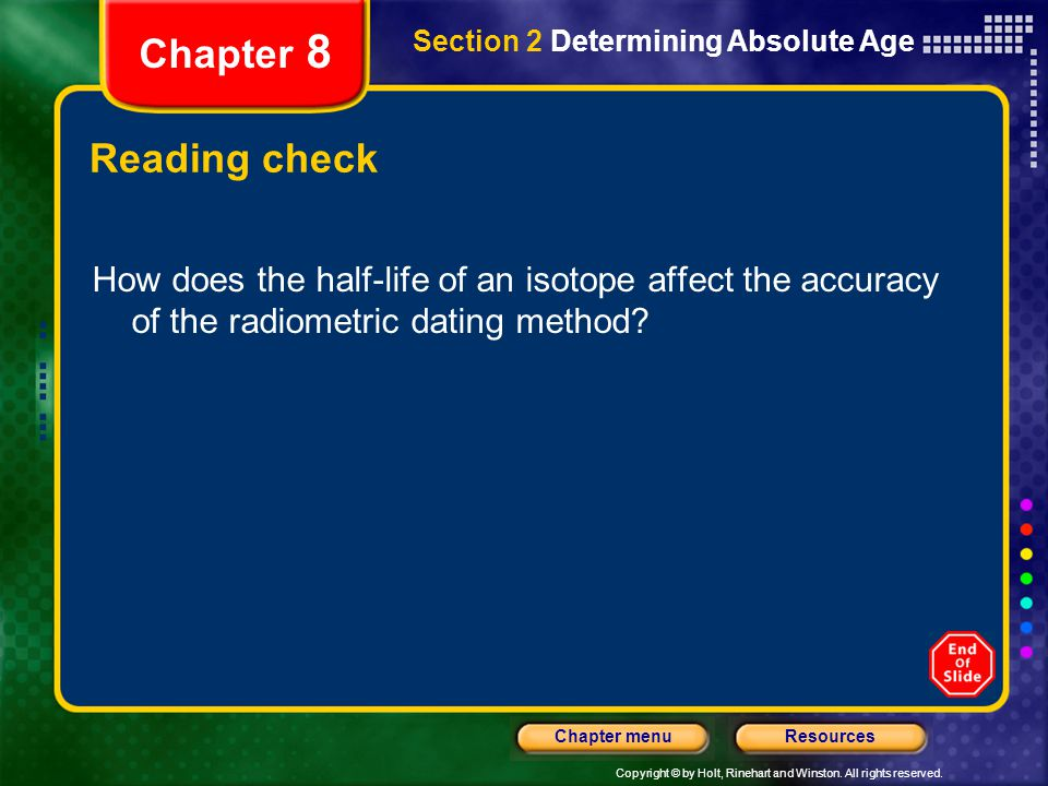 Chapter 8 Section 2 Determining Absolute Age. Reading check.