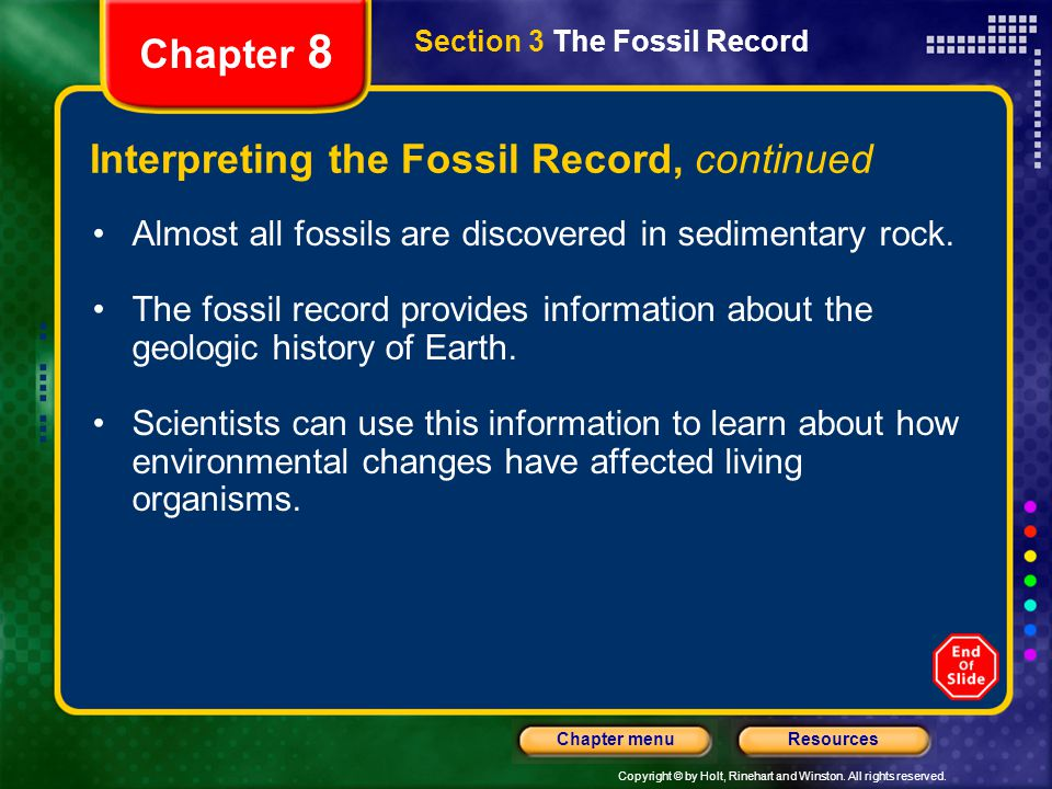 Interpreting the Fossil Record, continued