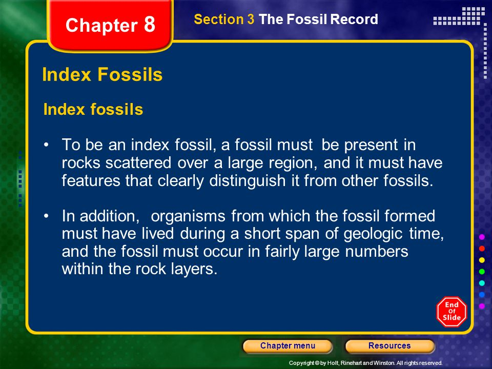 Chapter 8 Index Fossils Index fossils