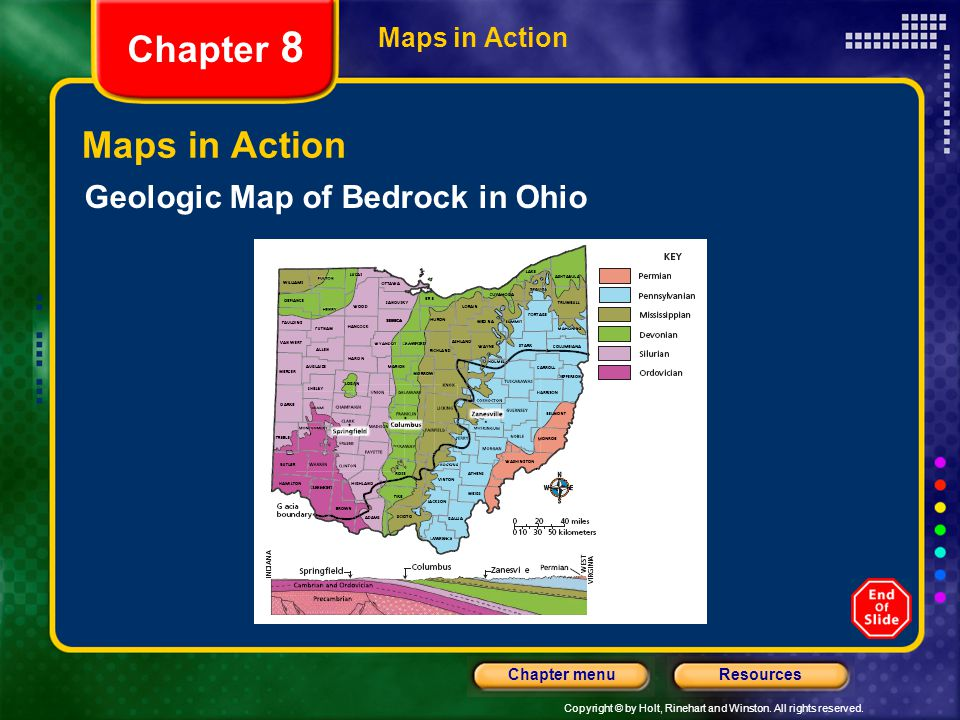 Chapter 8 Maps in Action Geologic Map of Bedrock in Ohio