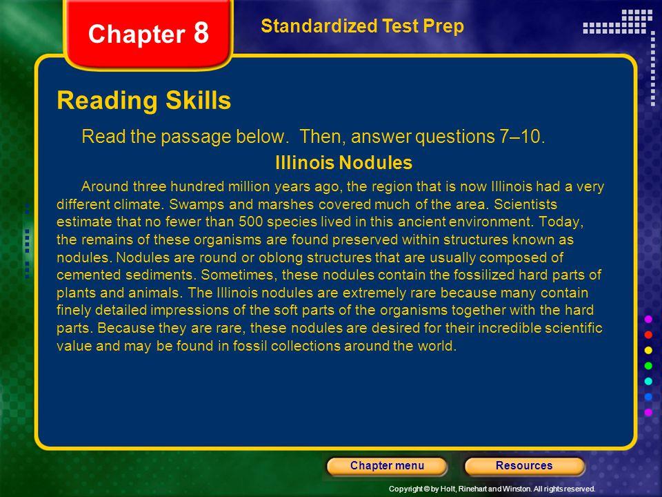 Chapter 8 Reading Skills Standardized Test Prep