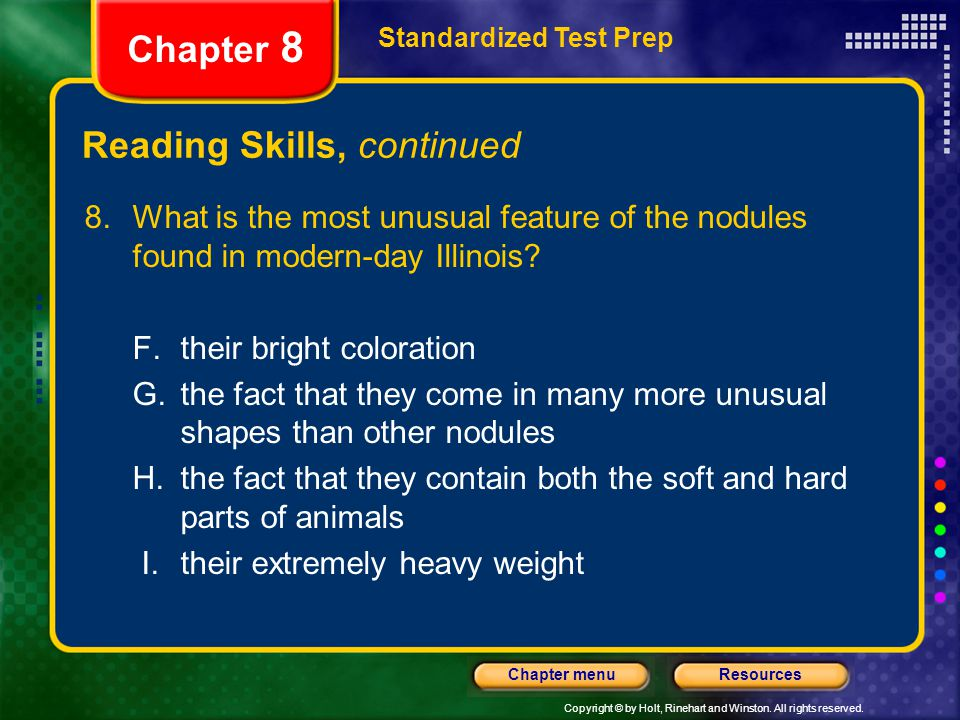 Reading Skills, continued