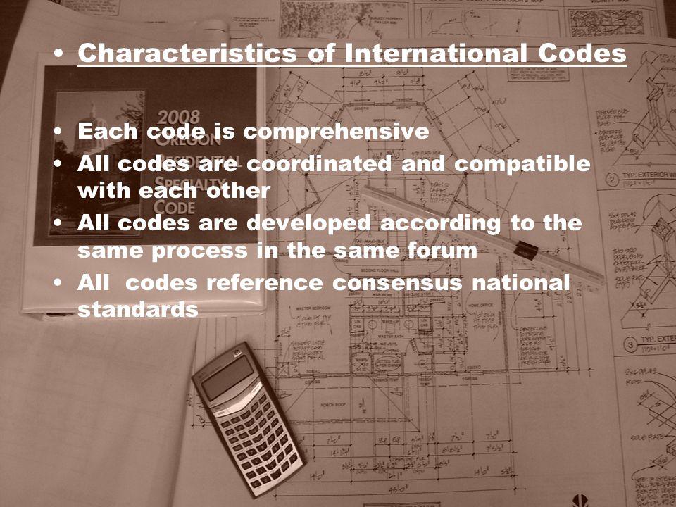 Characteristics of International Codes
