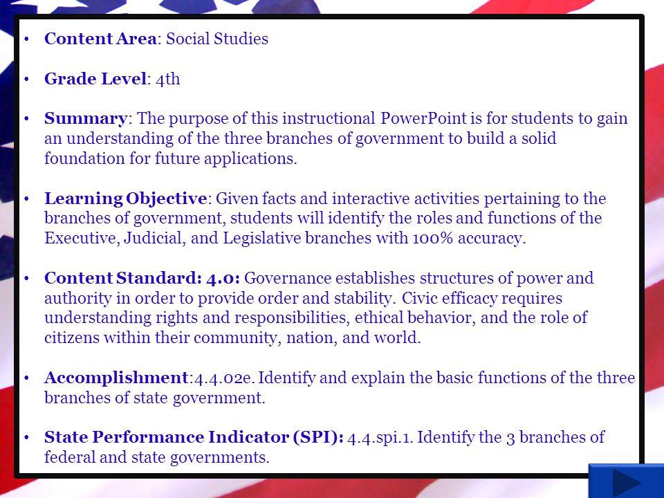 Content Area: Social Studies